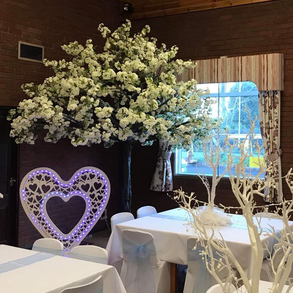 Finishing Touches Unique Wedding Altars: 10ft White (Ivory) Large Blossom Trees